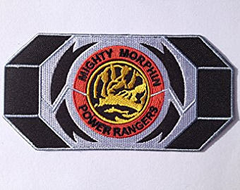 Belt clipart power ranger. Red morpher patch embroidered