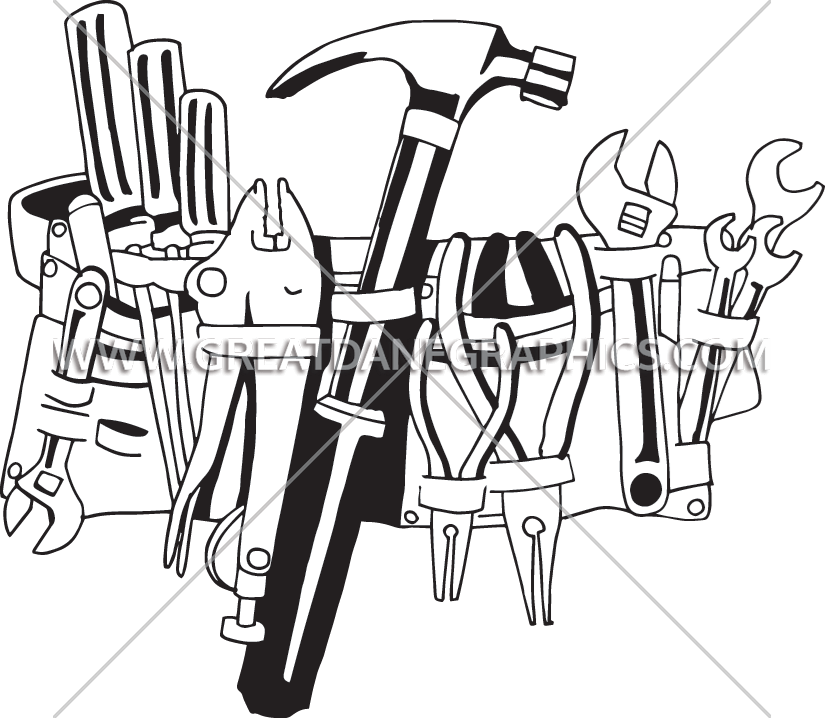 White clipart tool. Handy belt production ready