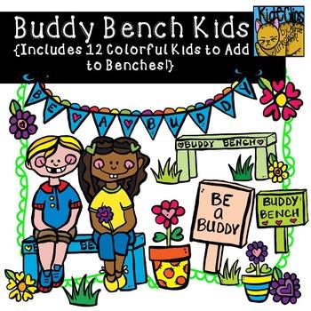 Buddy kids anti bullying. Bench clipart