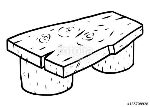 Wooden cartoon vector illustration. Bench clipart black and white