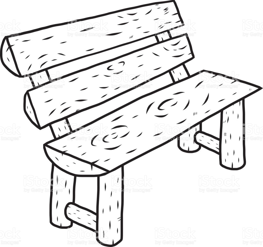 Bench clipart black and white. Sketch pencil in color