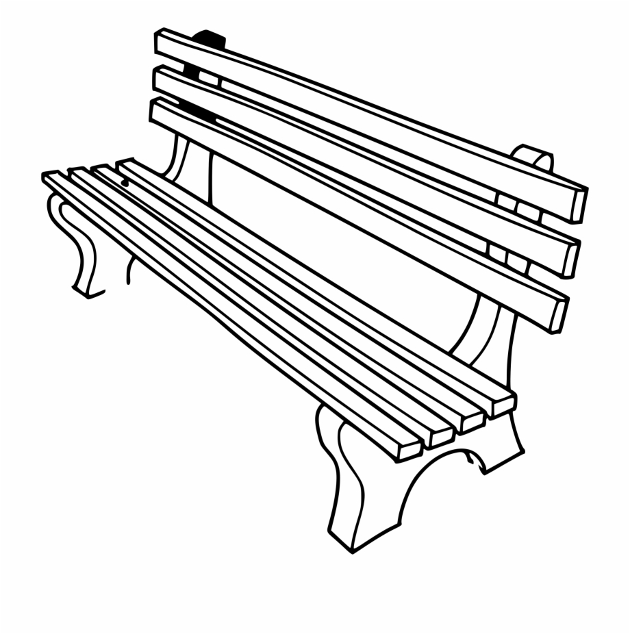 Bench clipart black and white. Outline clip