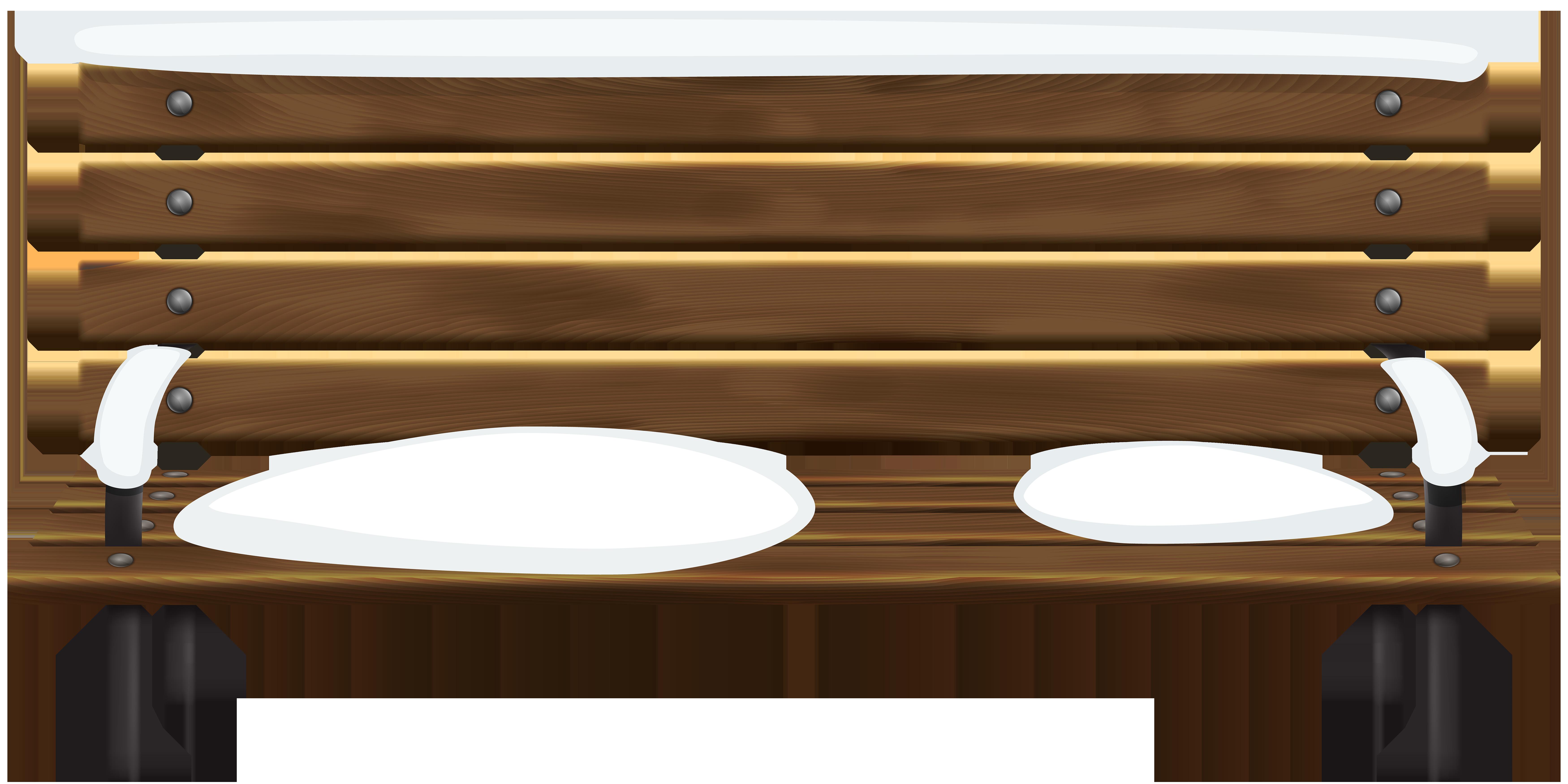 Bench clipart brown wooden. Winter png clip art