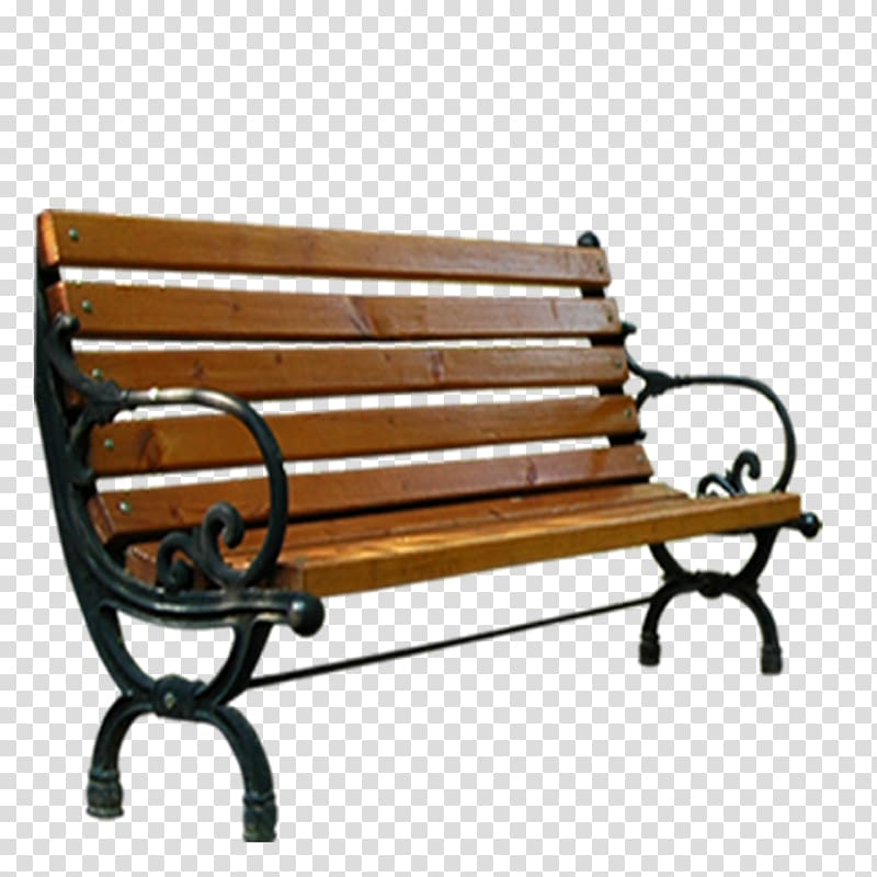 Empty with metal frame. Bench clipart brown wooden