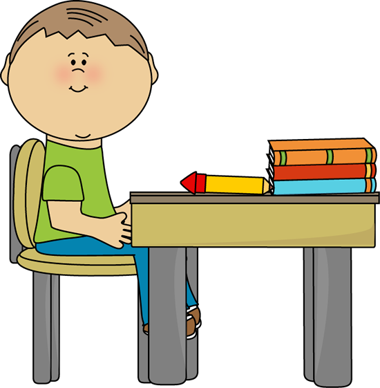 Safe clipart kid. School boy at desk