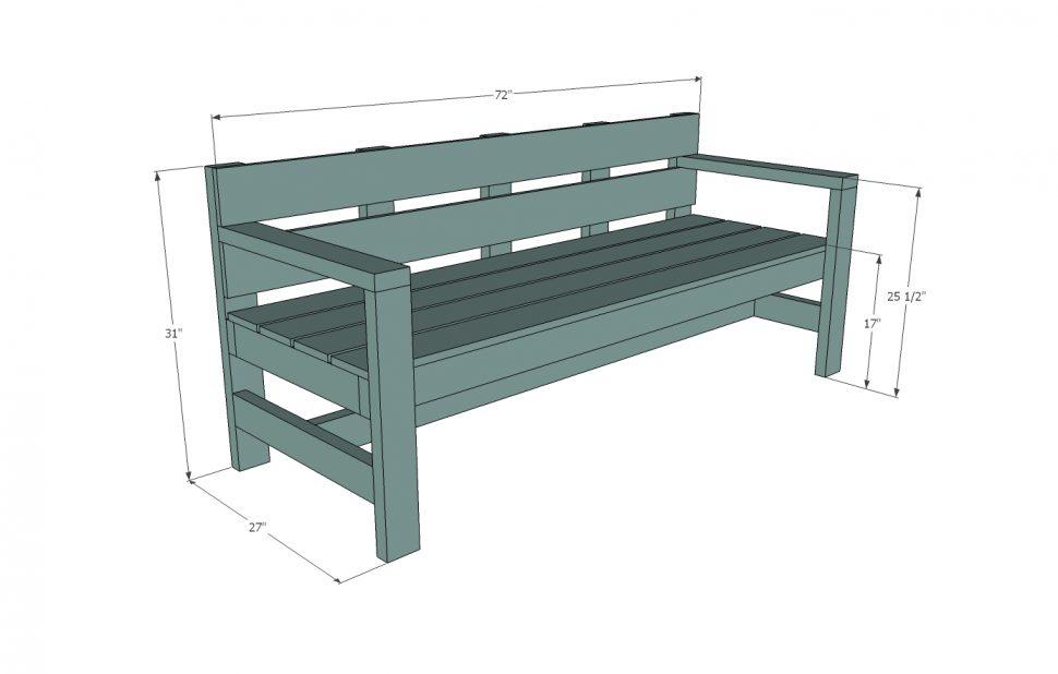 Ana white park plans. Bench clipart modern