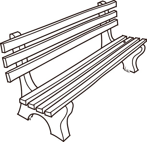 Black and white letters. Bench clipart park bench