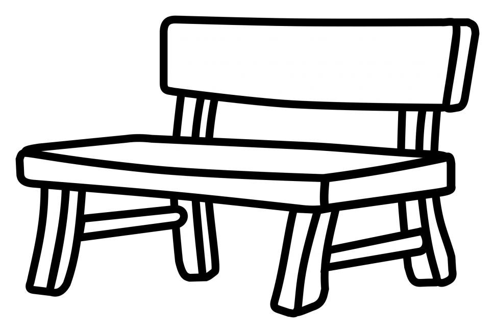 Bench clipart park bench. Black and white card