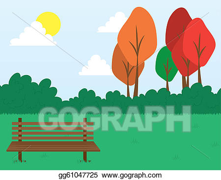 Bench clipart park tree. Vector art scene drawing