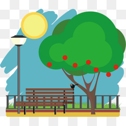 Trees png vectors psd. Bench clipart park tree
