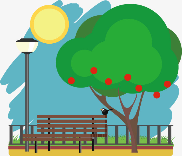 Bench clipart park tree. Spring landscape trees png