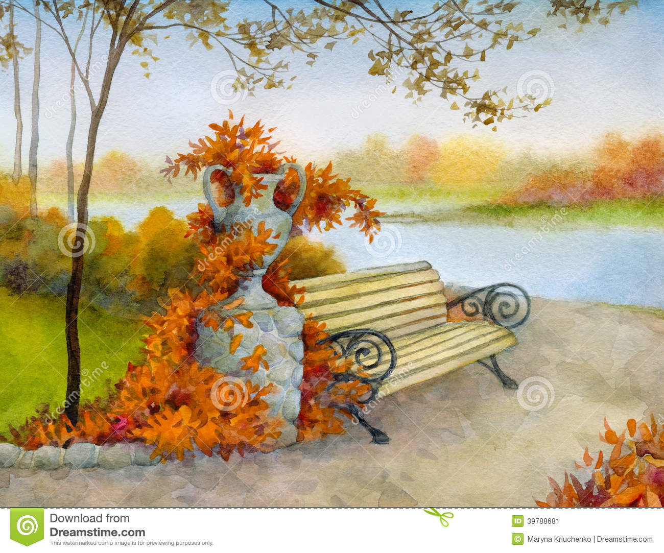 Bench clipart park tree. Autumn clipground decorative in