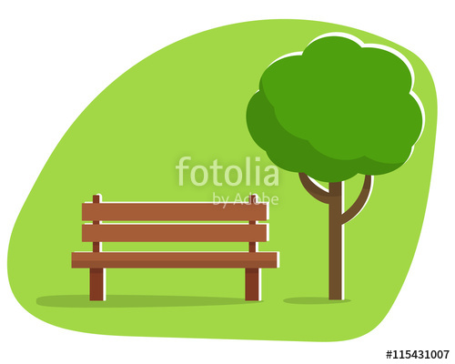 Under a in the. Bench clipart park tree