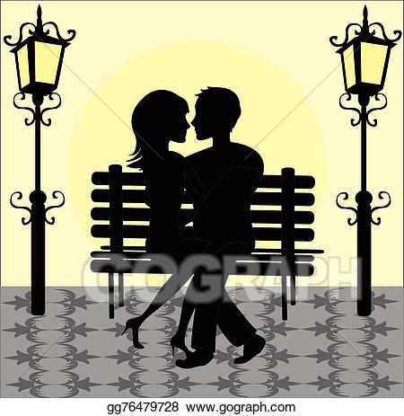 Bench clipart silhouette. Vector stock of a