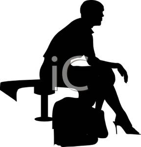 Bench clipart silhouette. A black of woman