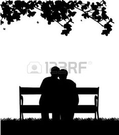Lovely retired elderly couple. Bench clipart silhouette