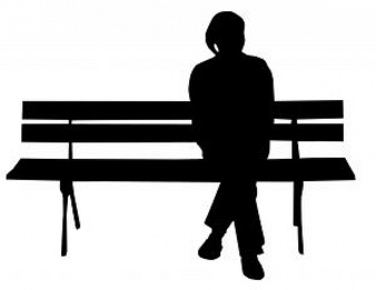 Man sitting vectors photos. Bench clipart silhouette