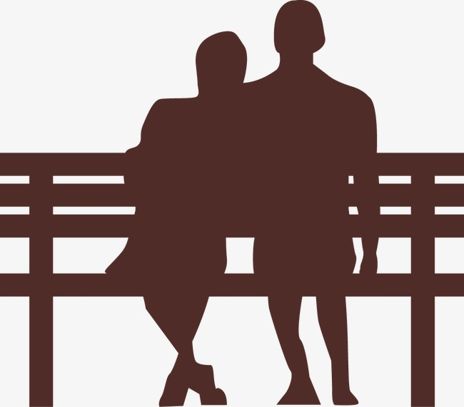 Park couple lovers background. Bench clipart silhouette