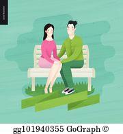 Eps illustration love lettering. Bench clipart spring