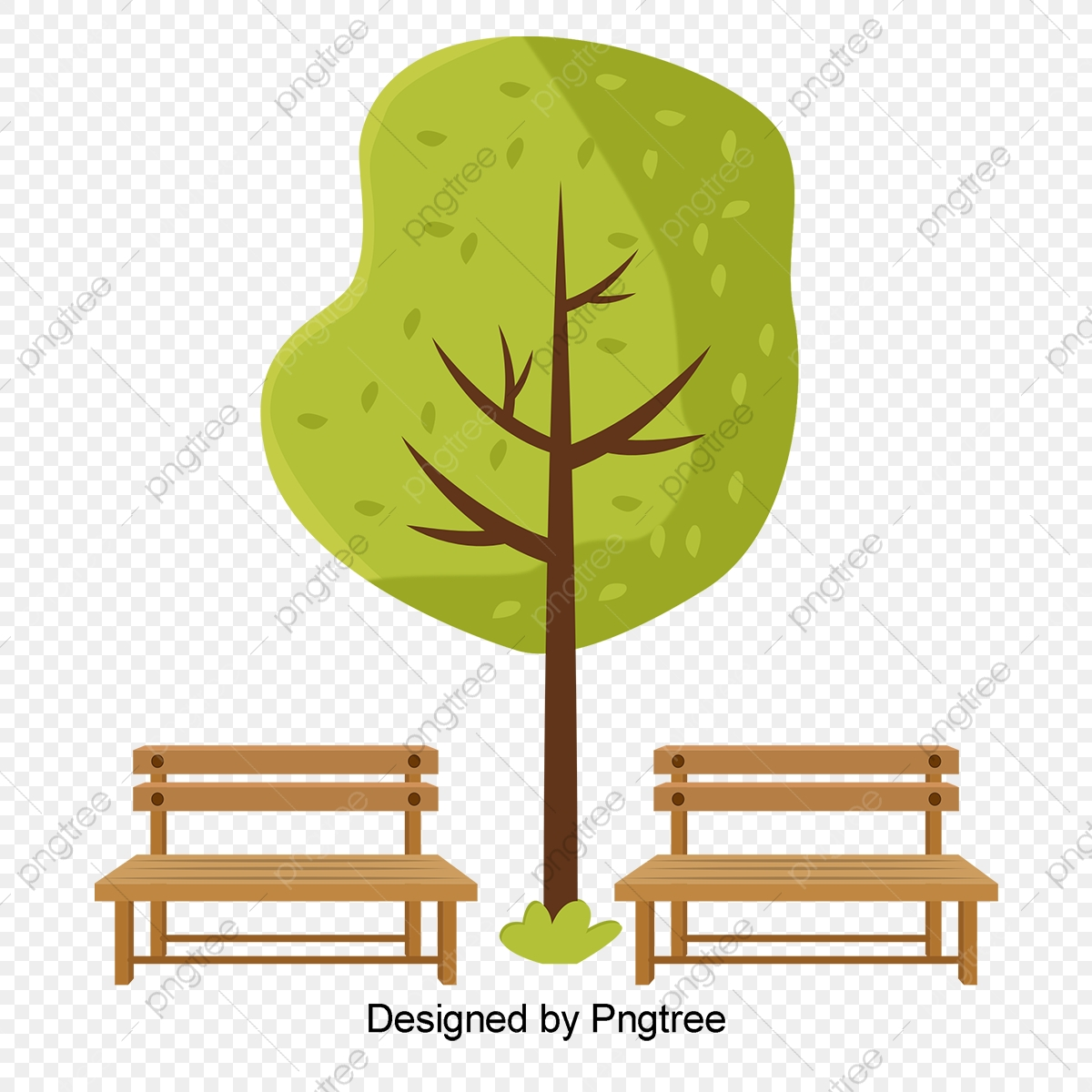 Wooden in the park. Bench clipart spring