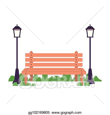 Bench clipart spring. Vector art isolated and