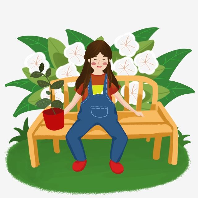 Bench clipart spring. Girl flower rest hand