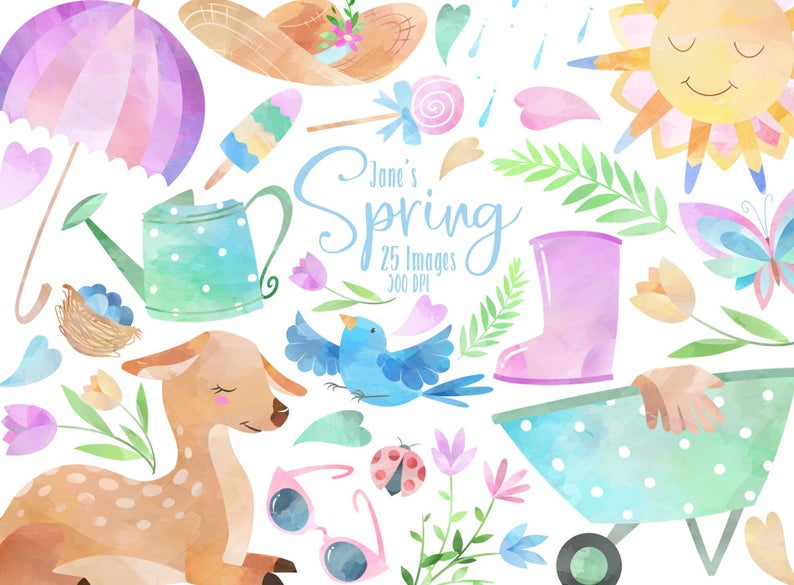Bench clipart spring. Watercolor seasonal download instant