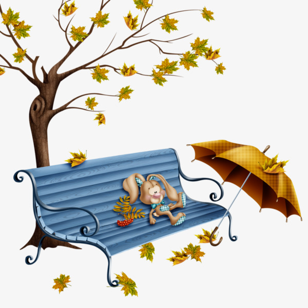 Rabbit doll painted on. Bench clipart tree