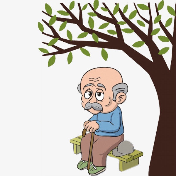 Bench clipart tree. Under the old man