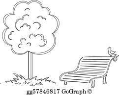 Vector illustration bird on. Bench clipart tree