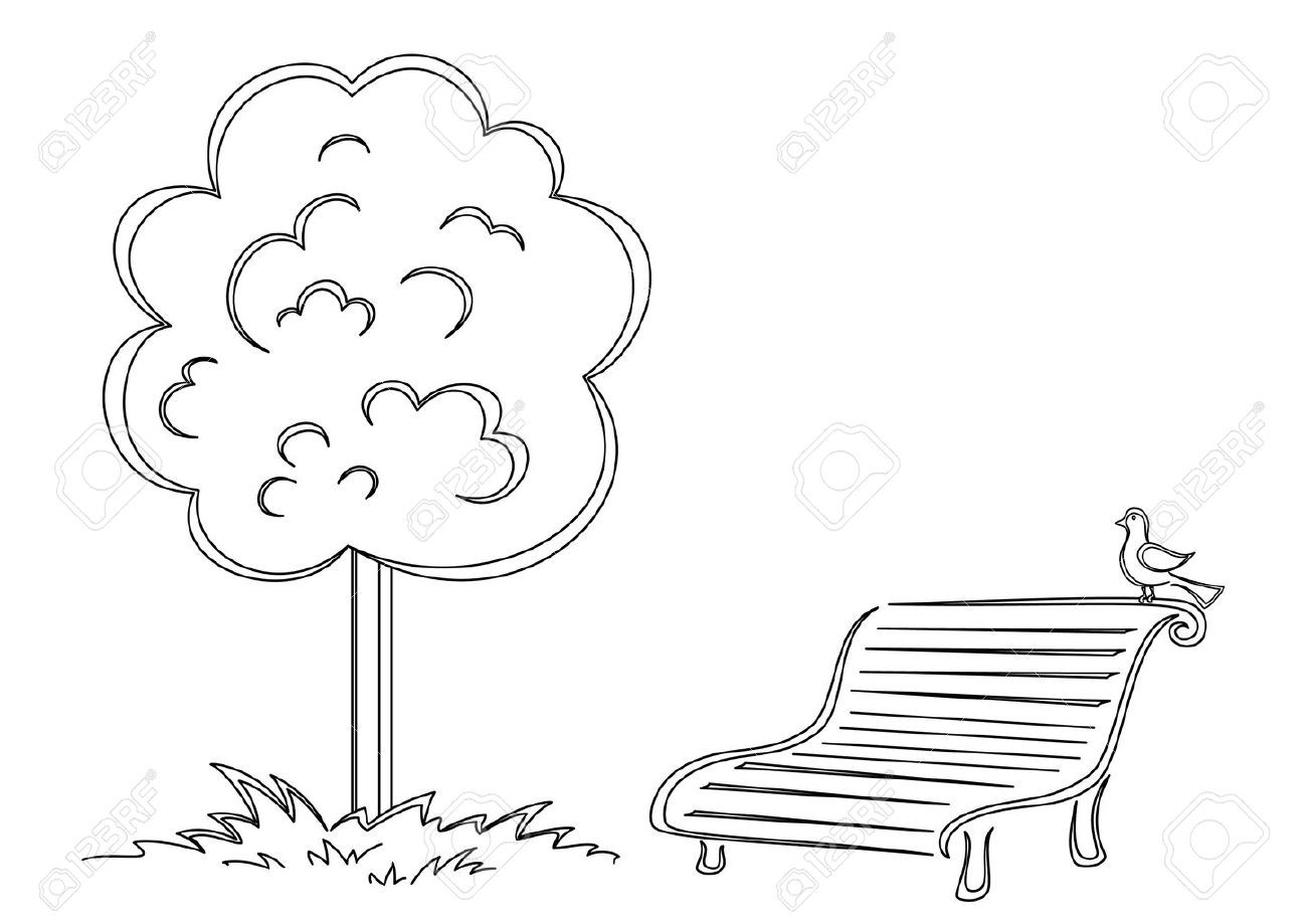 Bench clipart tree. Park black and white