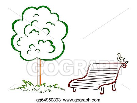Bird park green stock. Bench clipart tree