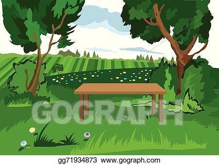 Vector stock cartoon grass. Bench clipart tree