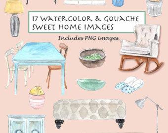 Bench clipart vintage. Clip art watercolor gouache
