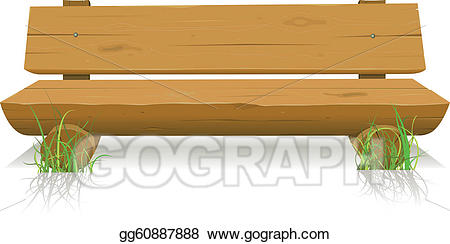 Vector illustration gg gograph. Bench clipart wood bench