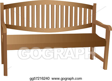 Bench clipart wood bench. Vector art illustrated wooden