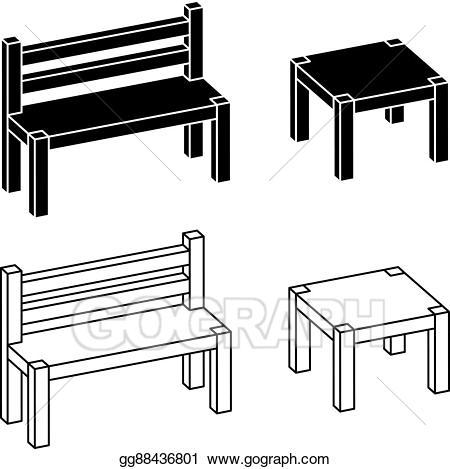 Bench clipart wooden desk. Eps illustration d simple