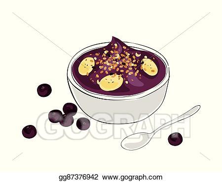 Vector bowl illustration gg. Berries clipart acai berry