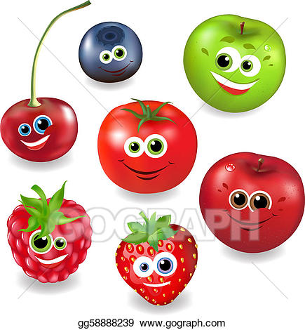 Vector art collection cartoon. Berries clipart animated