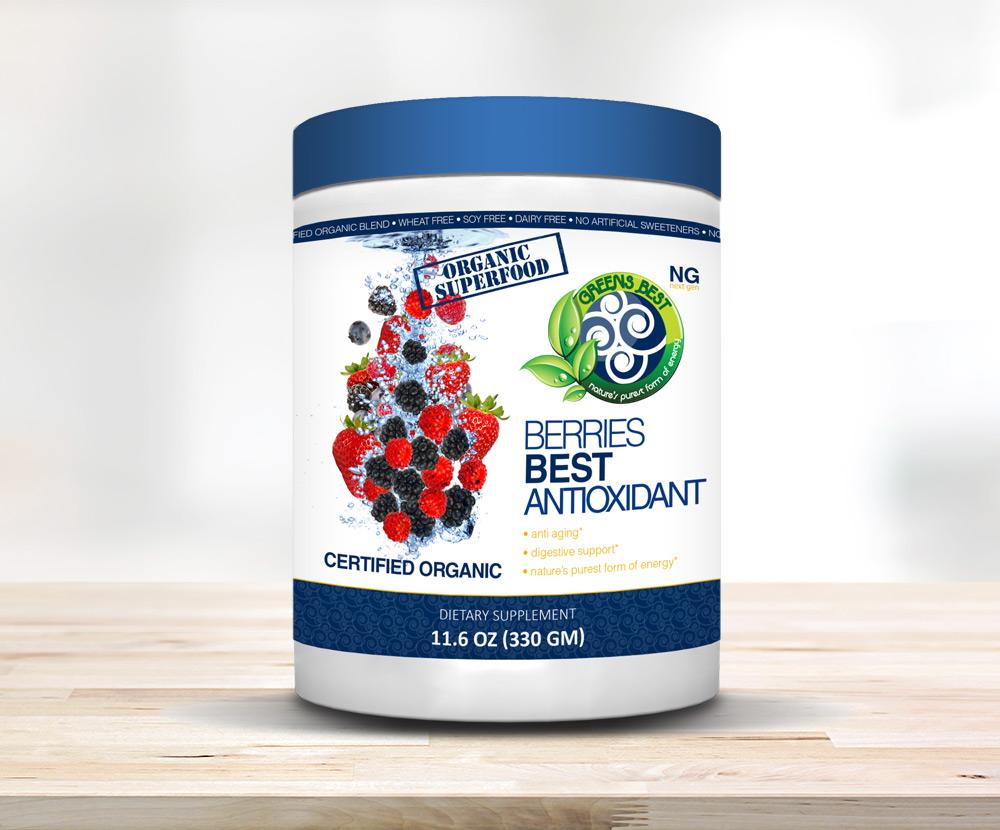Organic superfood greens best. Berry clipart antioxidant