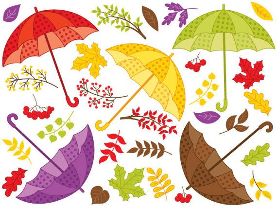 Fall umbrella digital vector. Berries clipart autumn berry