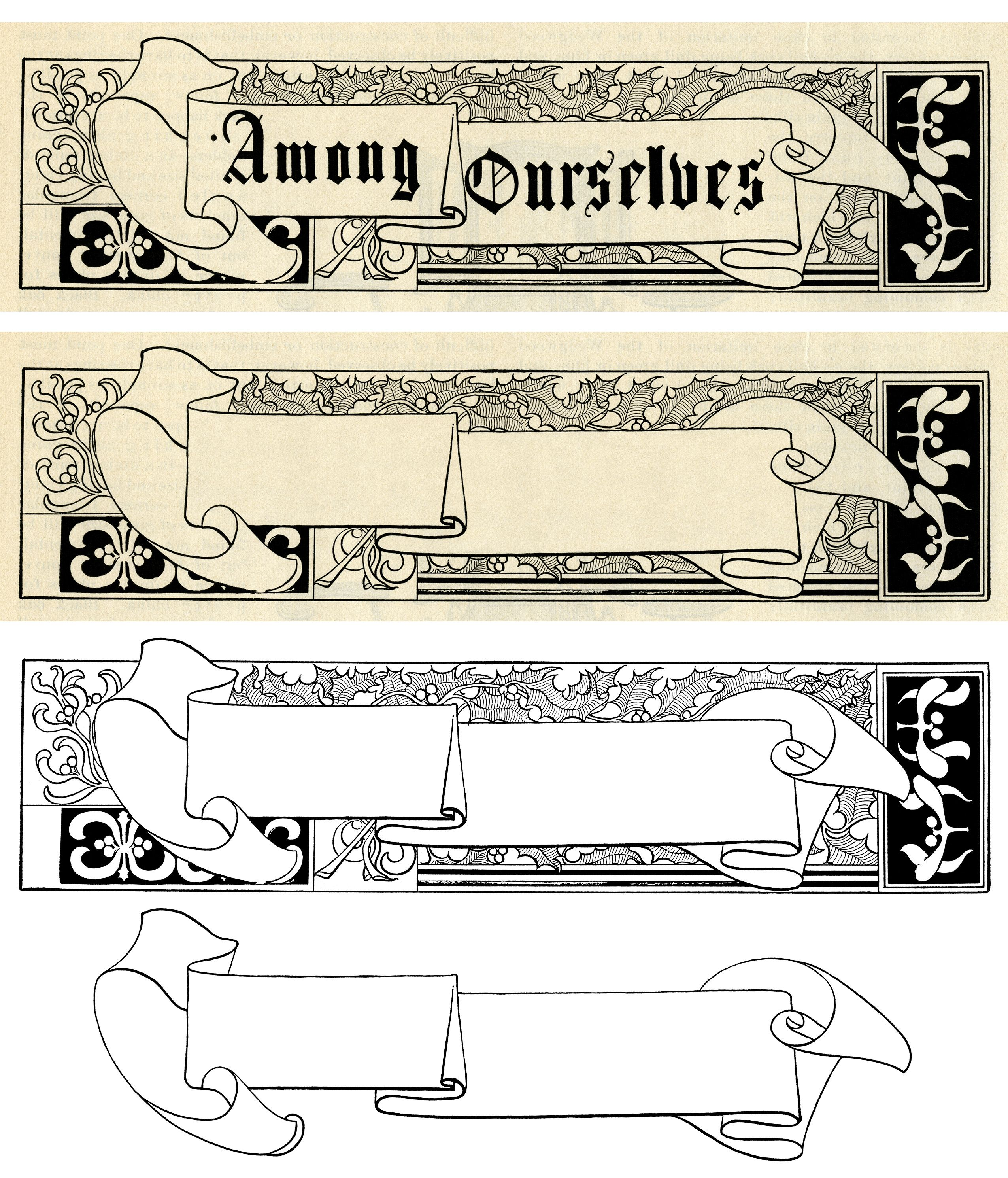 Vintage christmas frame holly. Berries clipart banner