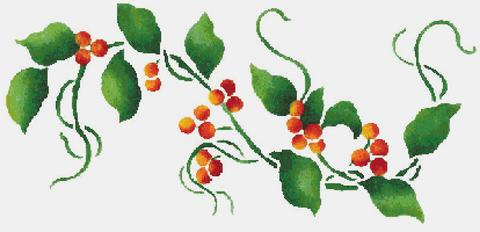 Berries clipart banner. Holly berry red counted