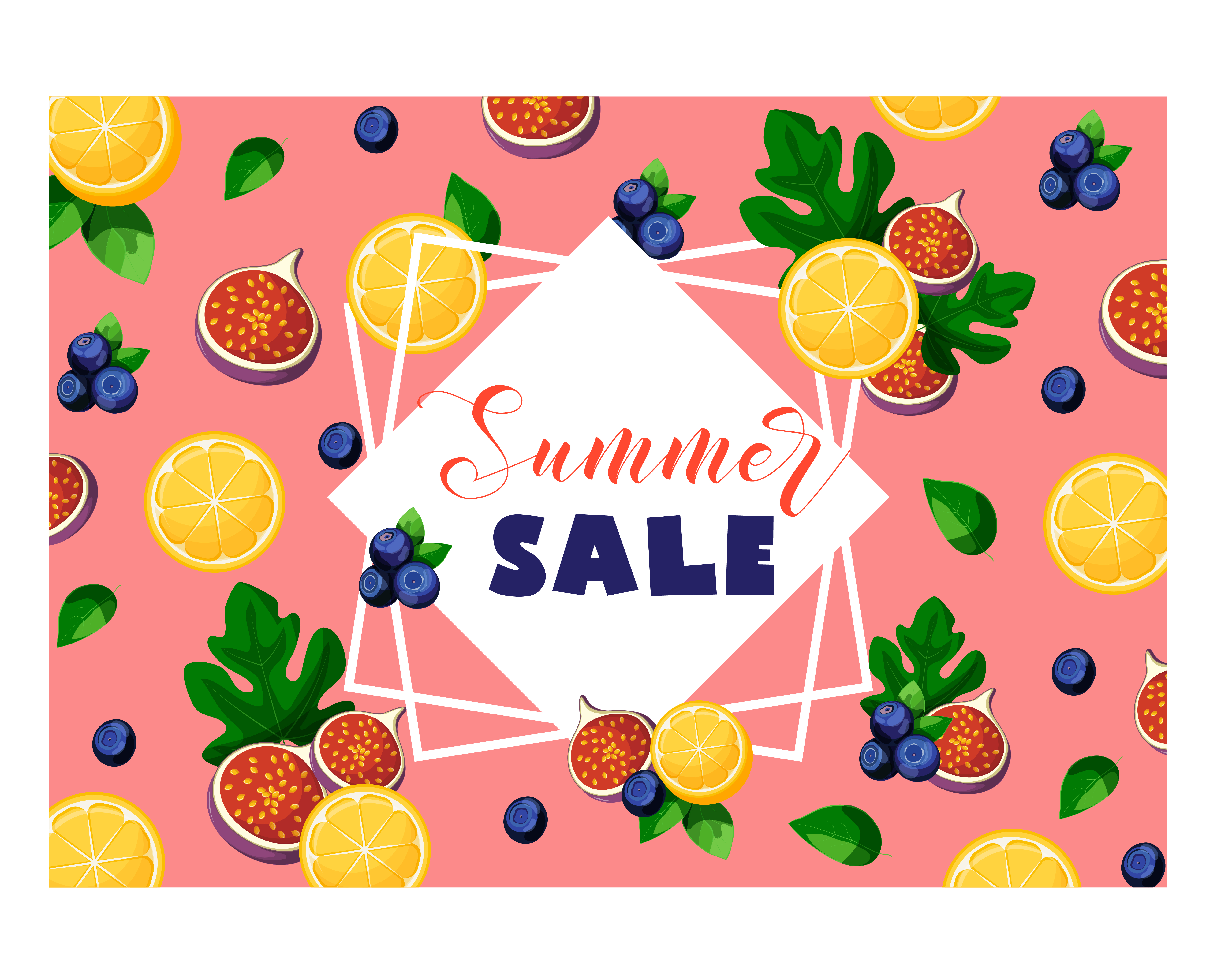 Berries clipart banner. Summer sale with fruits