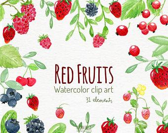 Berries clipart berrie. Watercolour etsy watercolor fruits