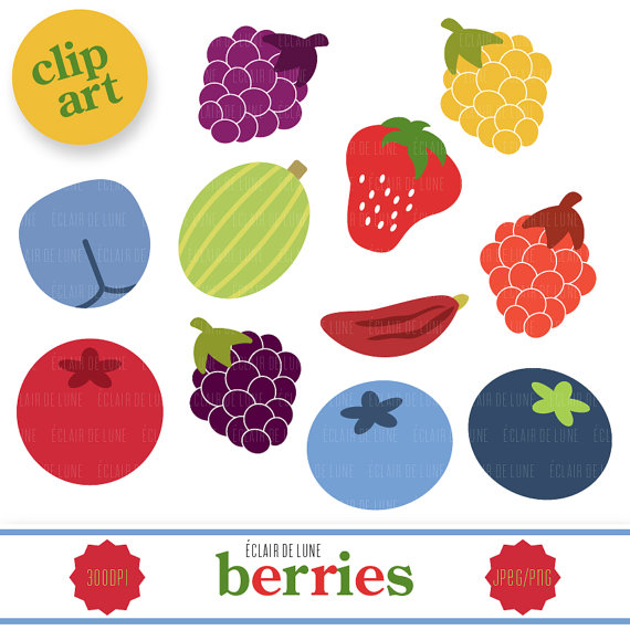 Berry Clip Art Fruit Clipart from EclairdeLune