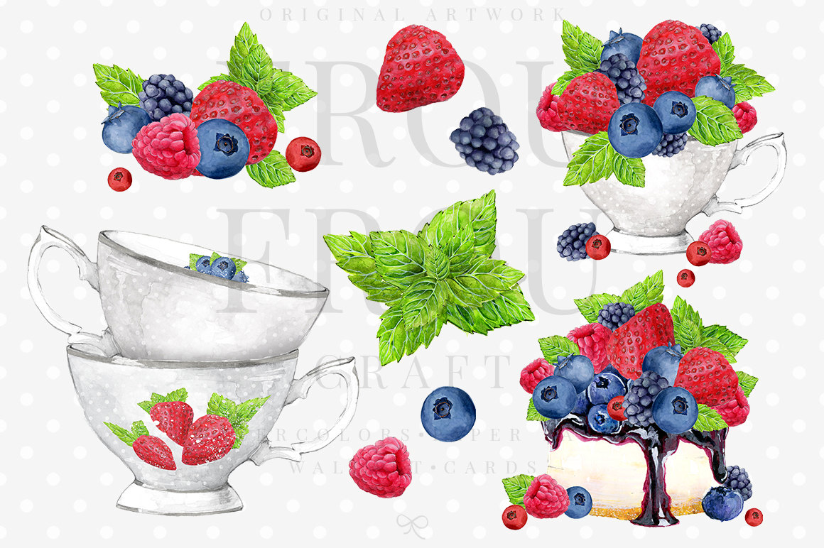 Fruits clip art strawberry. Berries clipart blue berry