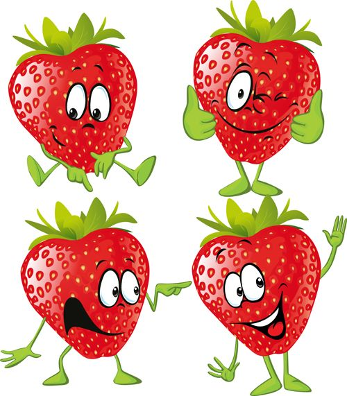 Funny strawberry characters vector. Berries clipart cartoon