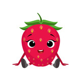 Berries clipart character. Big eyed cute girly