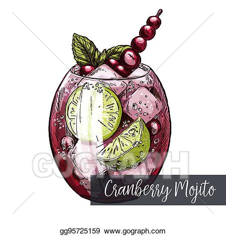 Berries clipart cranberry. Vector art mojito with